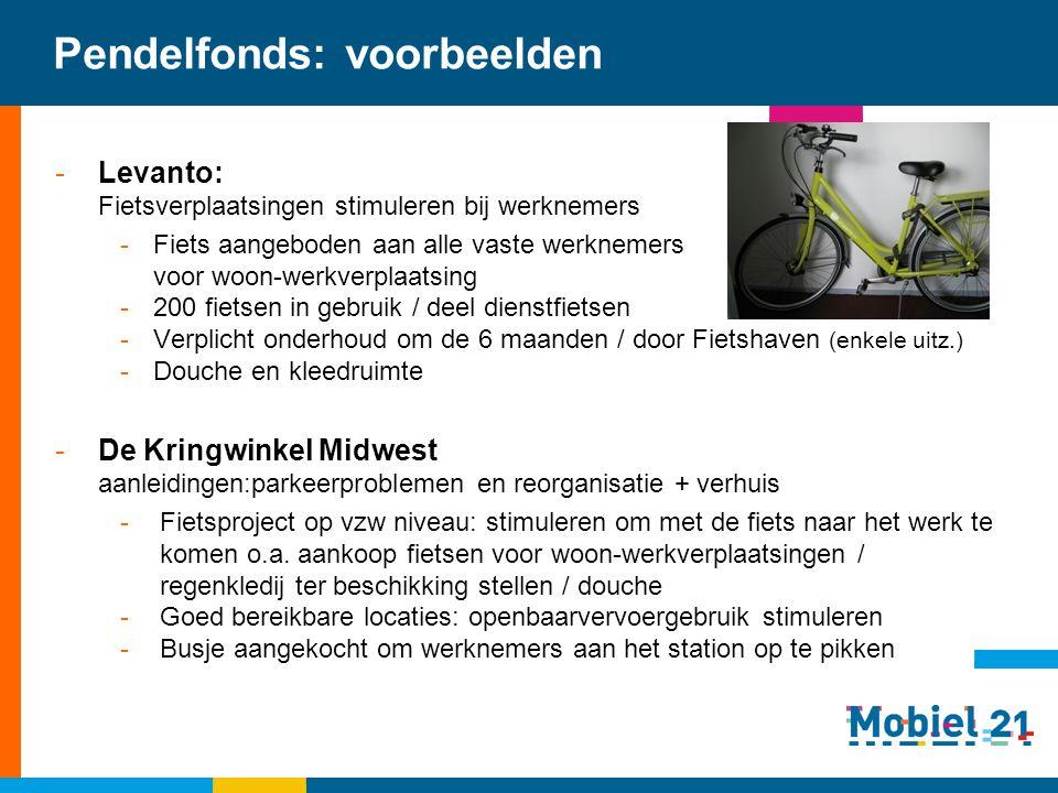 Pendelfonds: voorbeelden -Levanto: Fietsverplaatsingen stimuleren bij werknemers -Fiets aangeboden aan alle vaste werknemers voor woon-werkverplaatsin