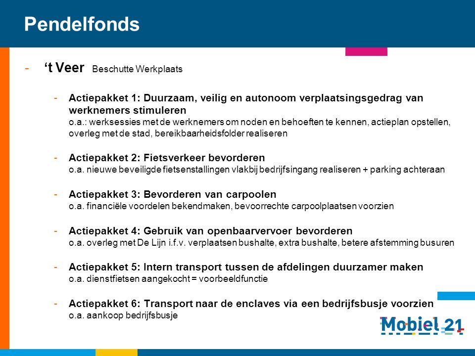 Pendelfonds -'t Veer Beschutte Werkplaats -Actiepakket 1: Duurzaam, veilig en autonoom verplaatsingsgedrag van werknemers stimuleren o.a.: werksessies