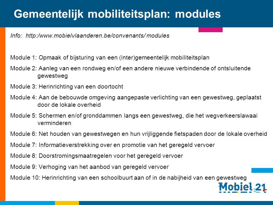 Gemeentelijk mobiliteitsplan: modules Info: http:/www.mobielvlaanderen.be/convenants/ modules Module 1: Opmaak of bijsturing van een (inter)gemeenteli