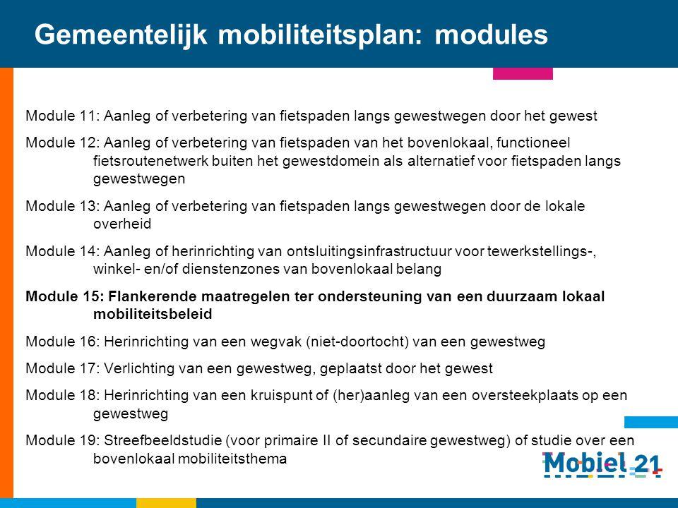 Gemeentelijk mobiliteitsplan: modules Module 11: Aanleg of verbetering van fietspaden langs gewestwegen door het gewest Module 12: Aanleg of verbeteri