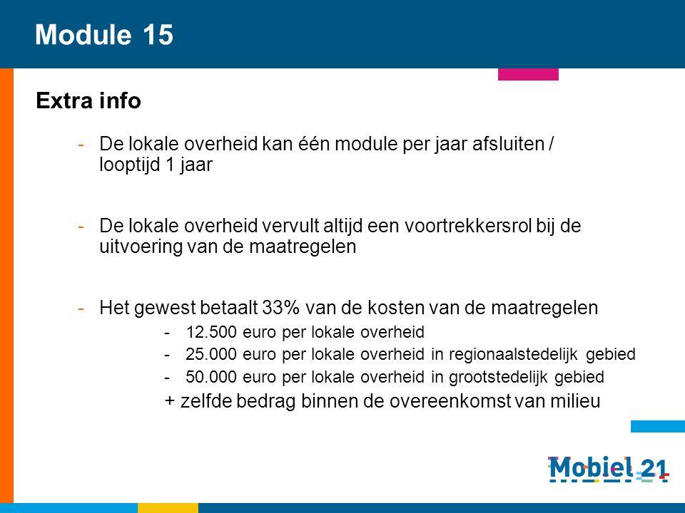 Module 15 Extra info -De lokale overheid kan één module per jaar afsluiten / looptijd 1 jaar -De lokale overheid vervult altijd een voortrekkersrol bi