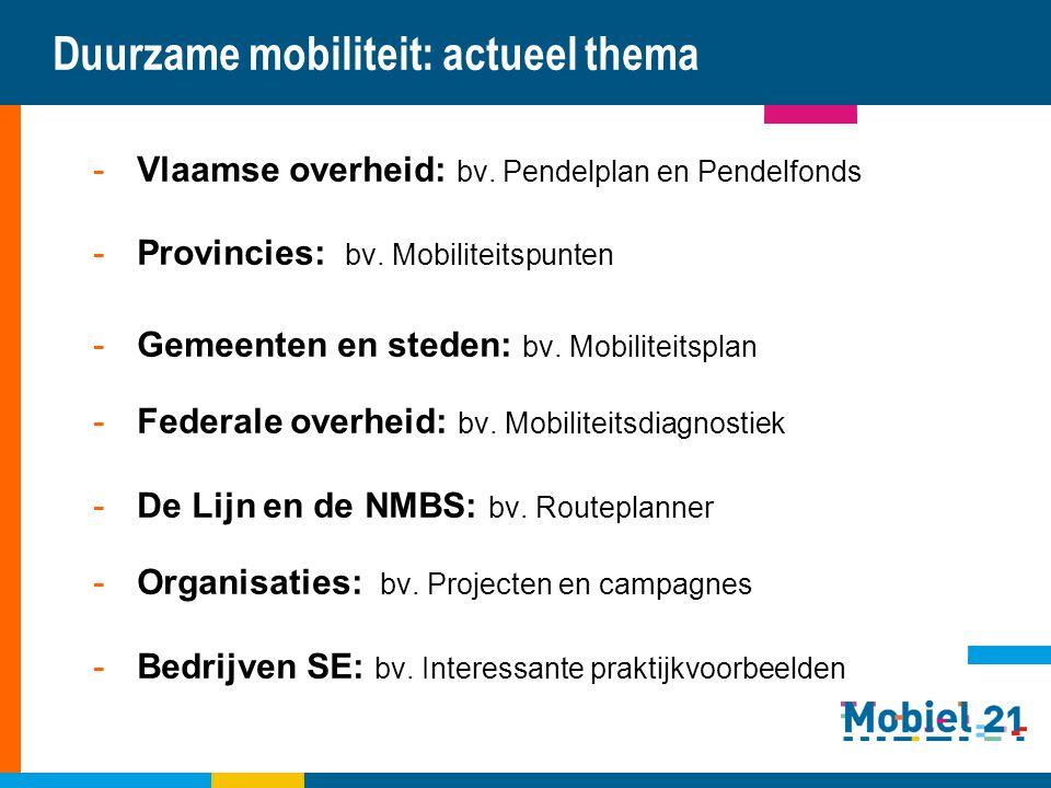 Duurzame mobiliteit: actueel thema -Vlaamse overheid: bv. Pendelplan en Pendelfonds -Provincies: bv. Mobiliteitspunten -Gemeenten en steden: bv. Mobil