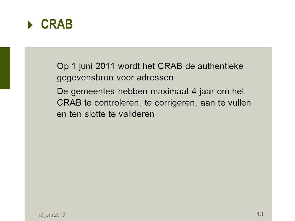 CRAB -Op 1 juni 2011 wordt het CRAB de authentieke gegevensbron voor adressen -De gemeentes hebben maximaal 4 jaar om het CRAB te controleren, te corrigeren, aan te vullen en ten slotte te valideren 19 juni 2013 13