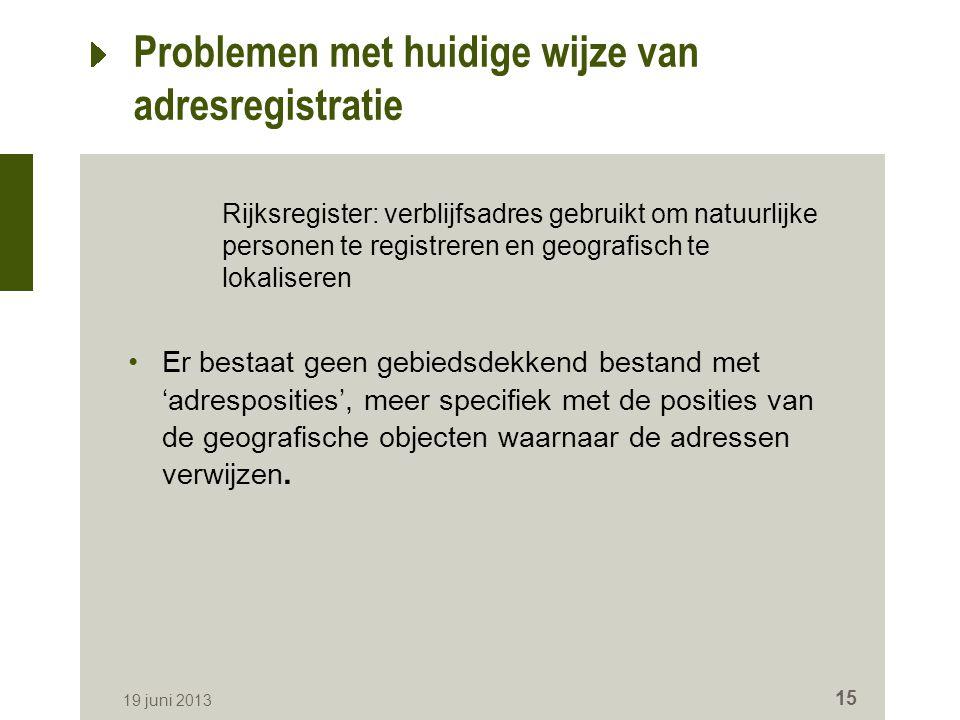 Problemen met huidige wijze van adresregistratie Rijksregister: verblijfsadres gebruikt om natuurlijke personen te registreren en geografisch te lokal