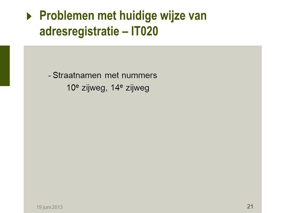 Problemen met huidige wijze van adresregistratie – IT020 -Straatnamen met nummers 10 e zijweg, 14 e zijweg 19 juni 2013 21