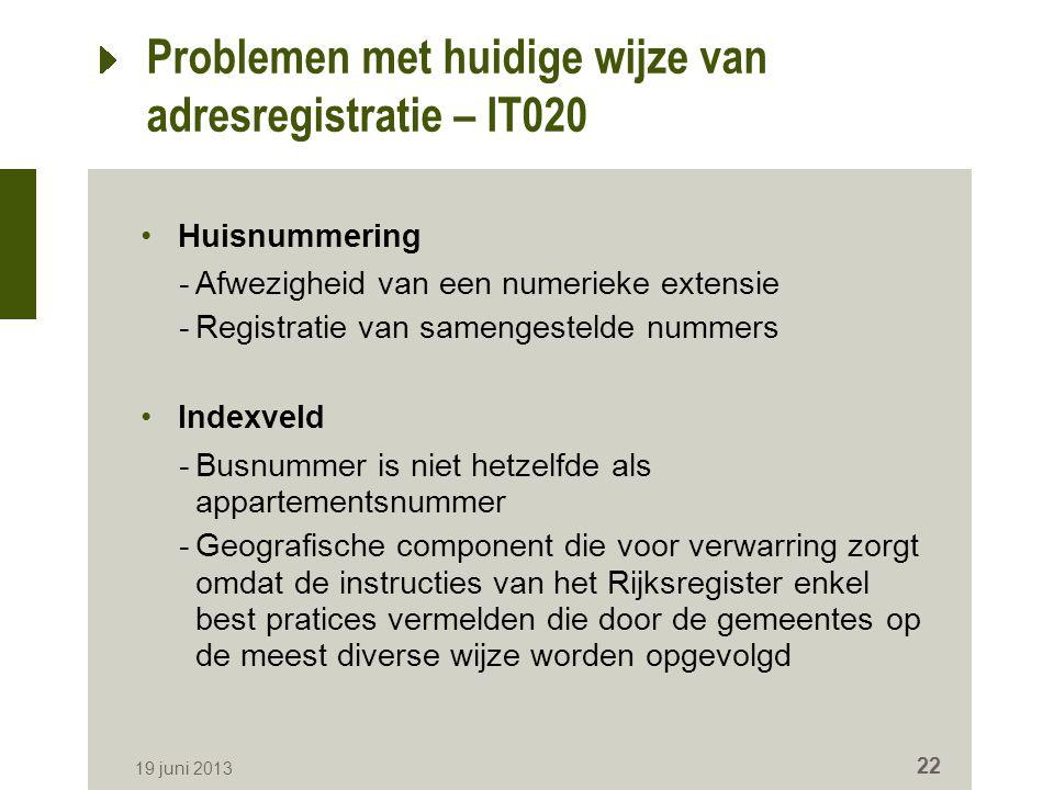 Problemen met huidige wijze van adresregistratie – IT020 Huisnummering -Afwezigheid van een numerieke extensie -Registratie van samengestelde nummers