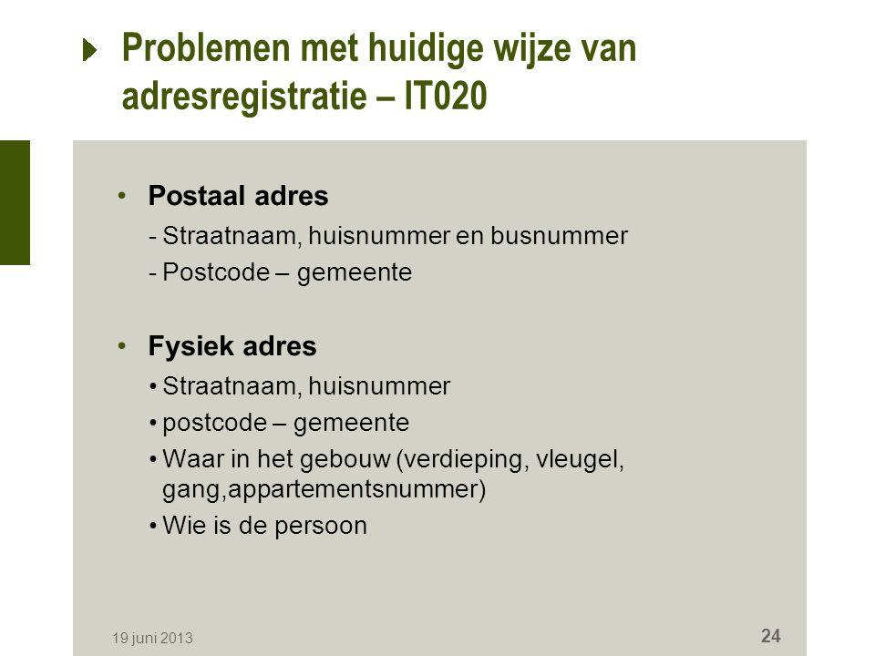Problemen met huidige wijze van adresregistratie – IT020 Postaal adres -Straatnaam, huisnummer en busnummer -Postcode – gemeente Fysiek adres Straatna