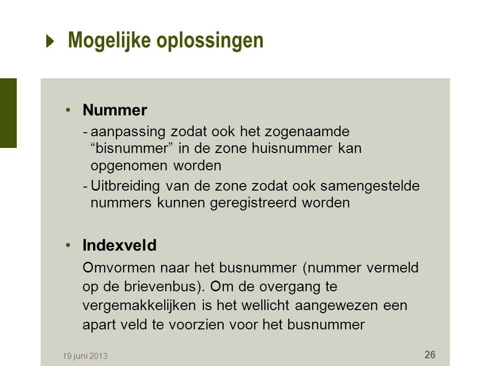 Mogelijke oplossingen Nummer -aanpassing zodat ook het zogenaamde bisnummer in de zone huisnummer kan opgenomen worden -Uitbreiding van de zone zodat ook samengestelde nummers kunnen geregistreerd worden Indexveld Omvormen naar het busnummer (nummer vermeld op de brievenbus).