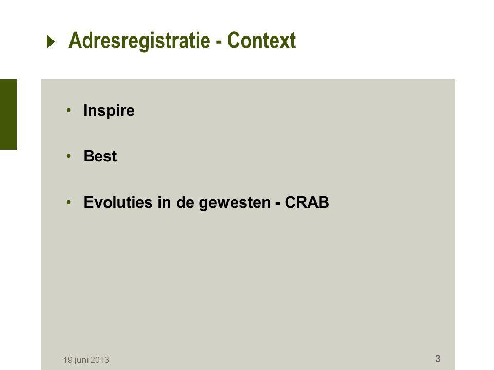 Adresregistratie - Context Inspire Best Evoluties in de gewesten - CRAB 19 juni 2013 3