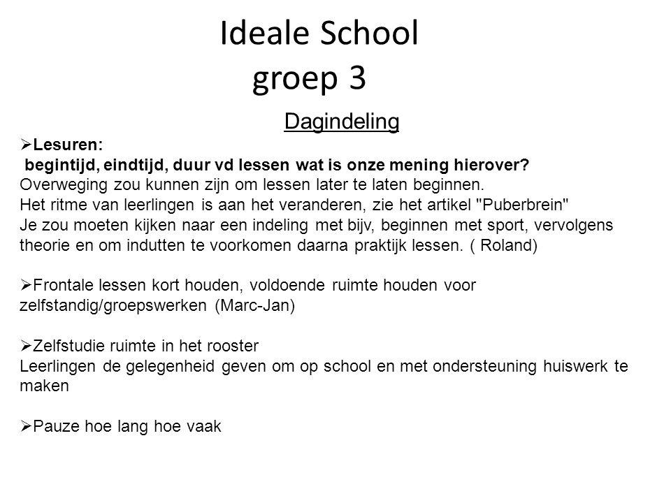 Ideale School groep 3 Dagindeling  Lesuren: begintijd, eindtijd, duur vd lessen wat is onze mening hierover.