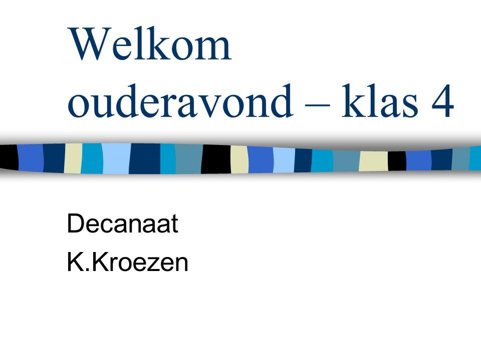 Welkom ouderavond – klas 4 Decanaat K.Kroezen