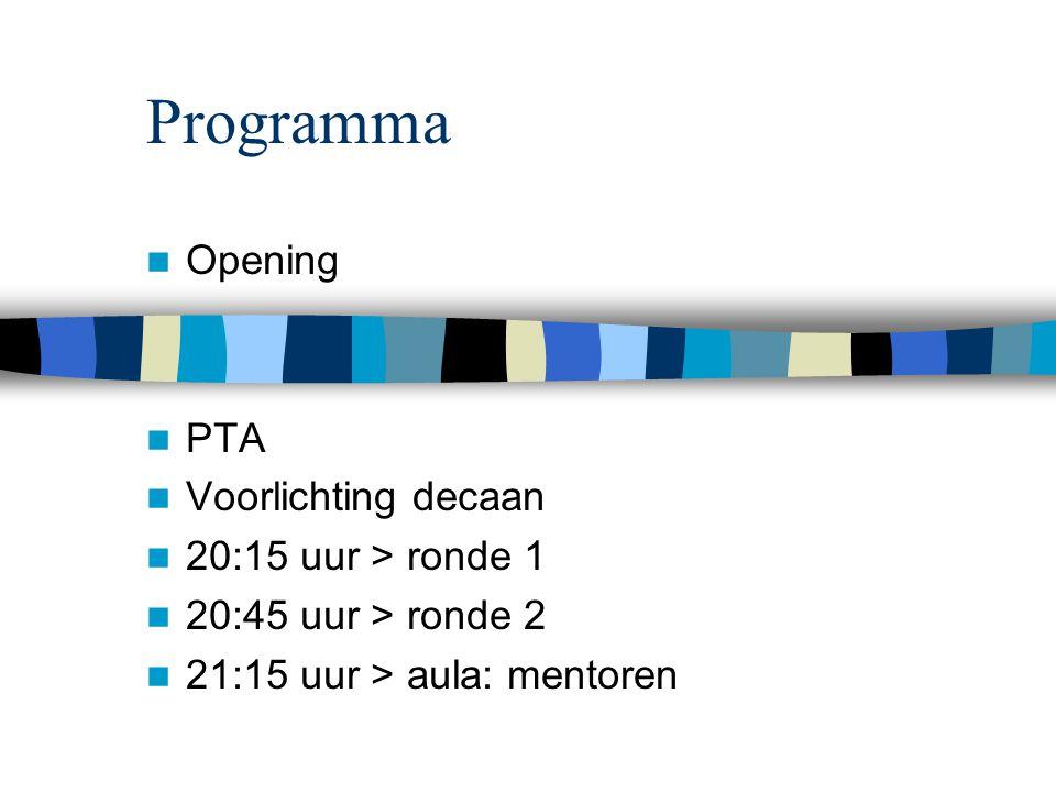 Programma Opening PTA Voorlichting decaan 20:15 uur > ronde 1 20:45 uur > ronde 2 21:15 uur > aula: mentoren
