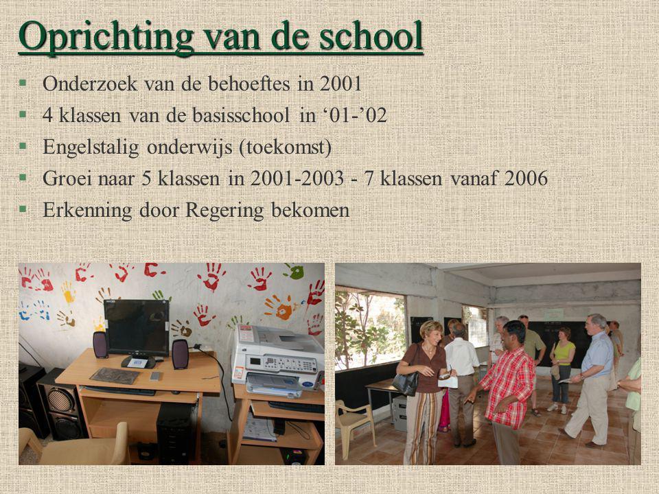 Oprichting van de school §Onderzoek van de behoeftes in 2001 §4 klassen van de basisschool in '01-'02 §Engelstalig onderwijs (toekomst) §Groei naar 5 klassen in 2001-2003 - 7 klassen vanaf 2006 §Erkenning door Regering bekomen