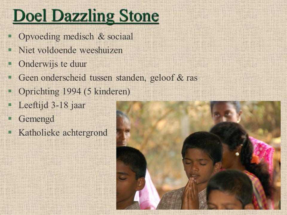 Doel Dazzling Stone §Opvoeding medisch & sociaal §Niet voldoende weeshuizen §Onderwijs te duur §Geen onderscheid tussen standen, geloof & ras §Oprichting 1994 (5 kinderen) §Leeftijd 3-18 jaar §Gemengd §Katholieke achtergrond