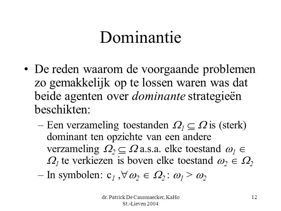dr. Patrick De Causmaecker, KaHo St.-Lieven 2004 12 Dominantie De reden waarom de voorgaande problemen zo gemakkelijk op te lossen waren was dat beide