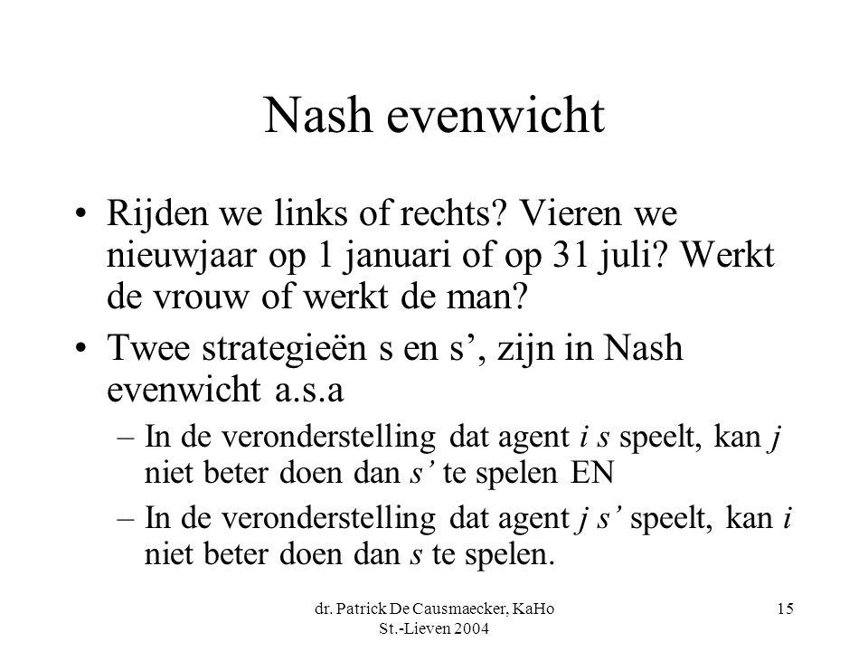 dr. Patrick De Causmaecker, KaHo St.-Lieven 2004 15 Nash evenwicht Rijden we links of rechts? Vieren we nieuwjaar op 1 januari of op 31 juli? Werkt de