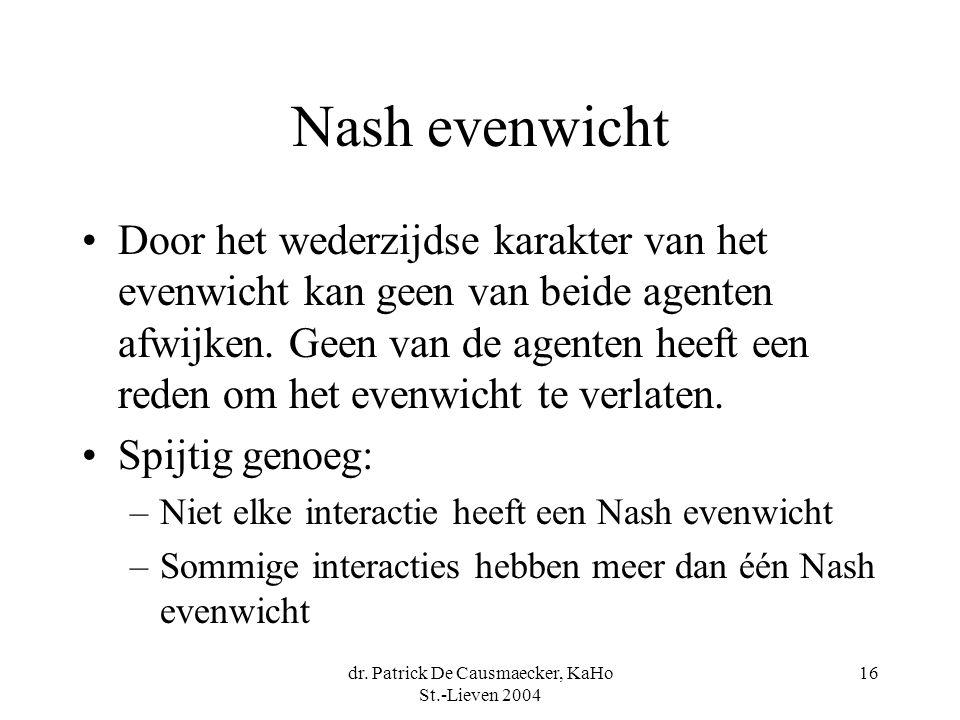 dr. Patrick De Causmaecker, KaHo St.-Lieven 2004 16 Nash evenwicht Door het wederzijdse karakter van het evenwicht kan geen van beide agenten afwijken