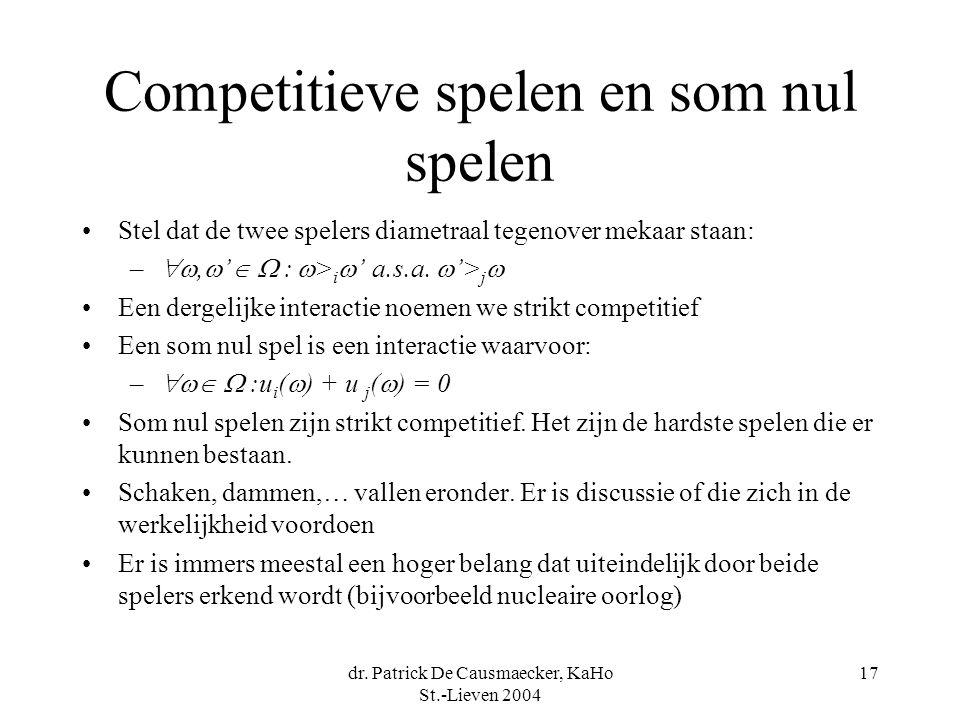 dr. Patrick De Causmaecker, KaHo St.-Lieven 2004 17 Competitieve spelen en som nul spelen Stel dat de twee spelers diametraal tegenover mekaar staan: