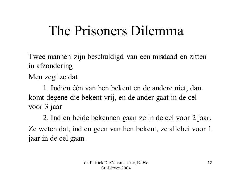 dr. Patrick De Causmaecker, KaHo St.-Lieven 2004 18 The Prisoners Dilemma Twee mannen zijn beschuldigd van een misdaad en zitten in afzondering Men ze