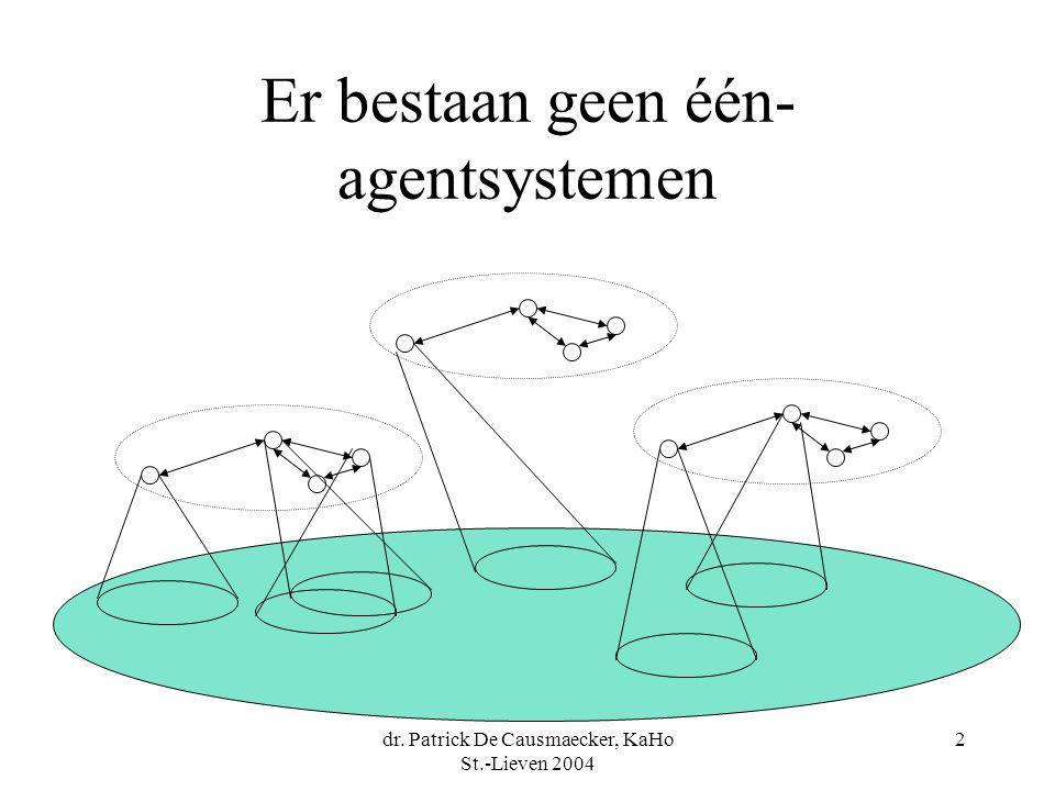 dr. Patrick De Causmaecker, KaHo St.-Lieven 2004 2 Er bestaan geen één- agentsystemen