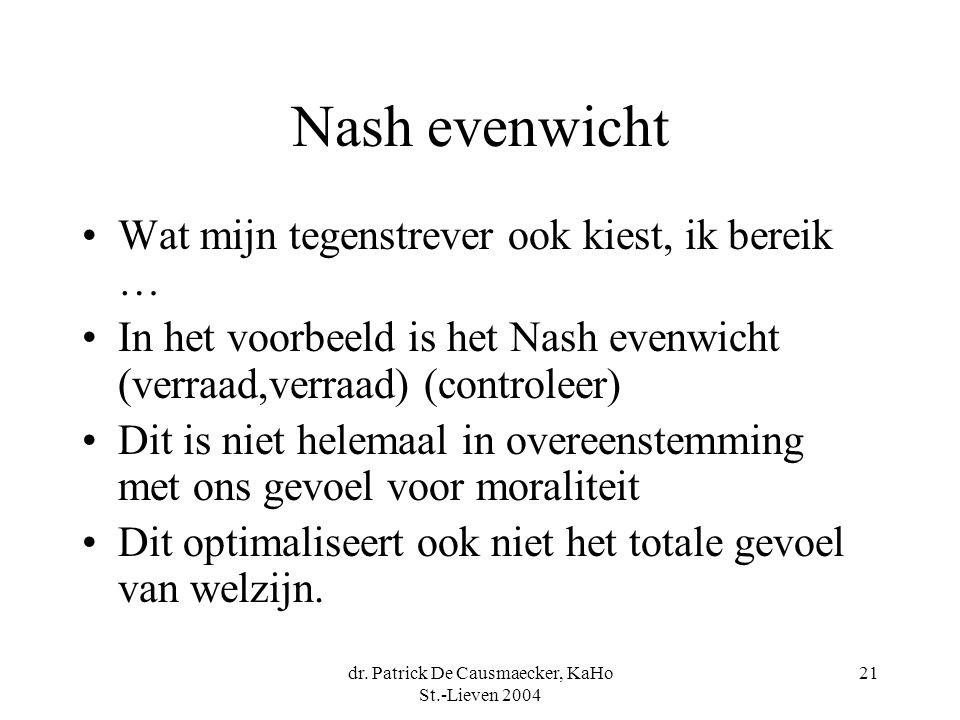 dr. Patrick De Causmaecker, KaHo St.-Lieven 2004 21 Nash evenwicht Wat mijn tegenstrever ook kiest, ik bereik … In het voorbeeld is het Nash evenwicht