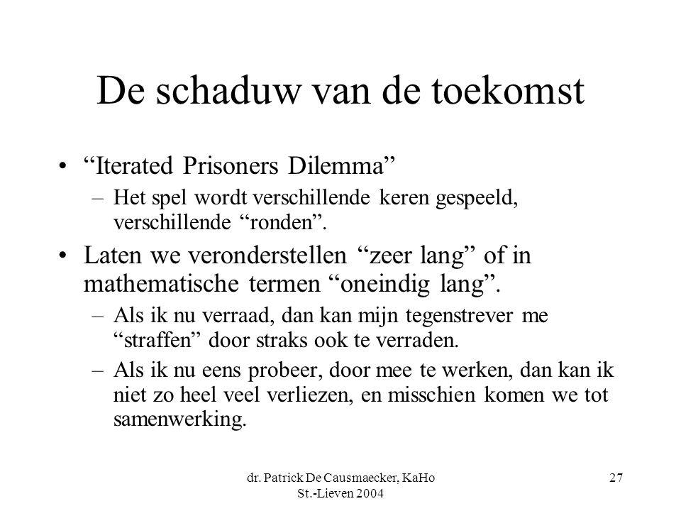 """dr. Patrick De Causmaecker, KaHo St.-Lieven 2004 27 De schaduw van de toekomst """"Iterated Prisoners Dilemma"""" –Het spel wordt verschillende keren gespee"""