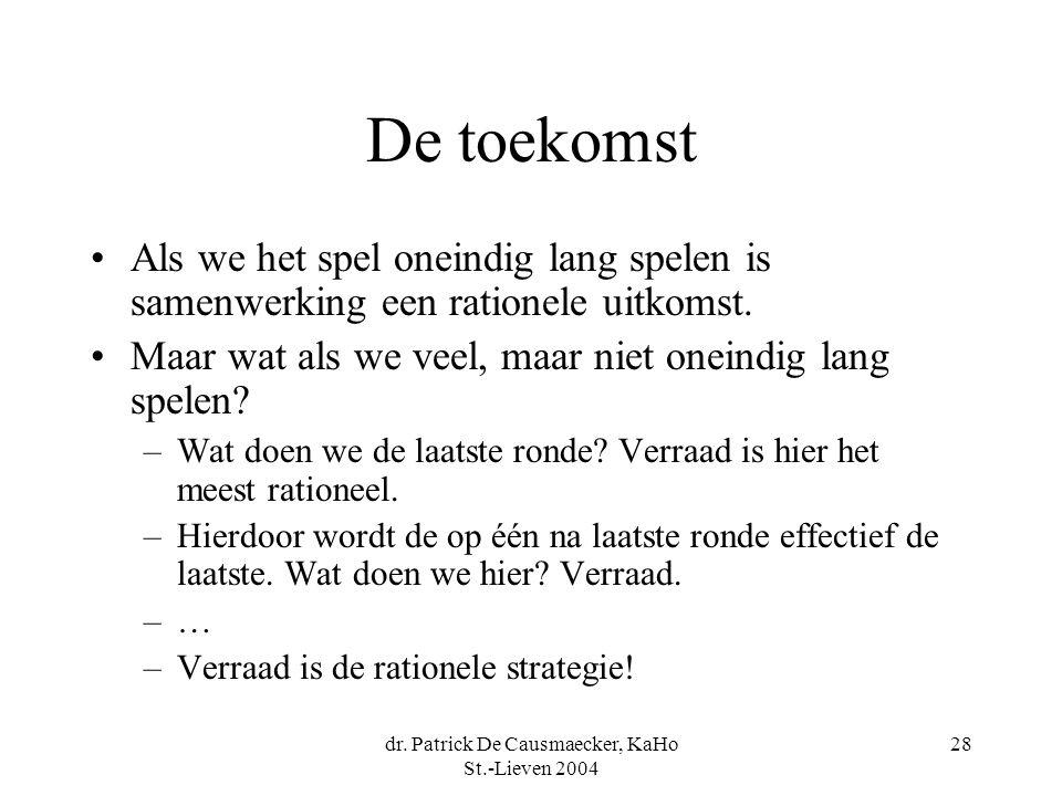 dr. Patrick De Causmaecker, KaHo St.-Lieven 2004 28 De toekomst Als we het spel oneindig lang spelen is samenwerking een rationele uitkomst. Maar wat