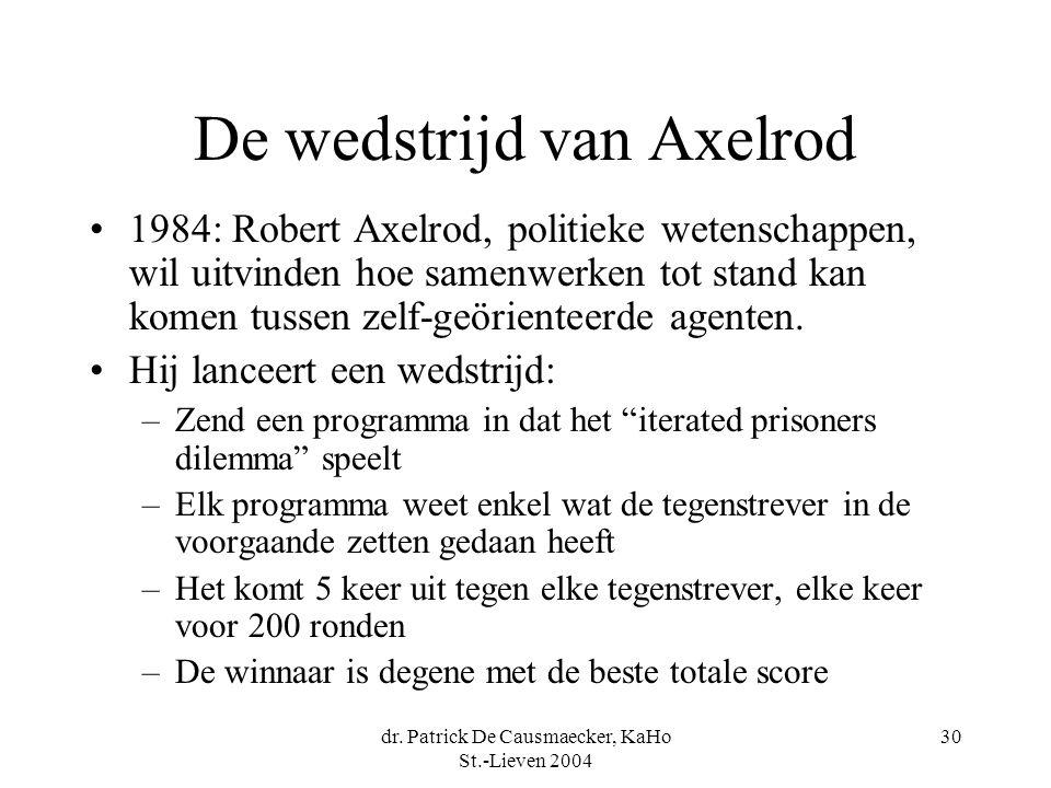 dr. Patrick De Causmaecker, KaHo St.-Lieven 2004 30 De wedstrijd van Axelrod 1984: Robert Axelrod, politieke wetenschappen, wil uitvinden hoe samenwer