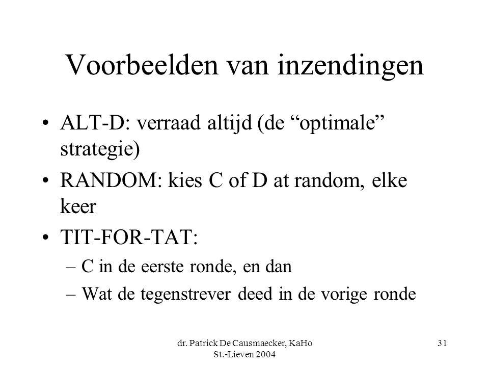"""dr. Patrick De Causmaecker, KaHo St.-Lieven 2004 31 Voorbeelden van inzendingen ALT-D: verraad altijd (de """"optimale"""" strategie) RANDOM: kies C of D at"""