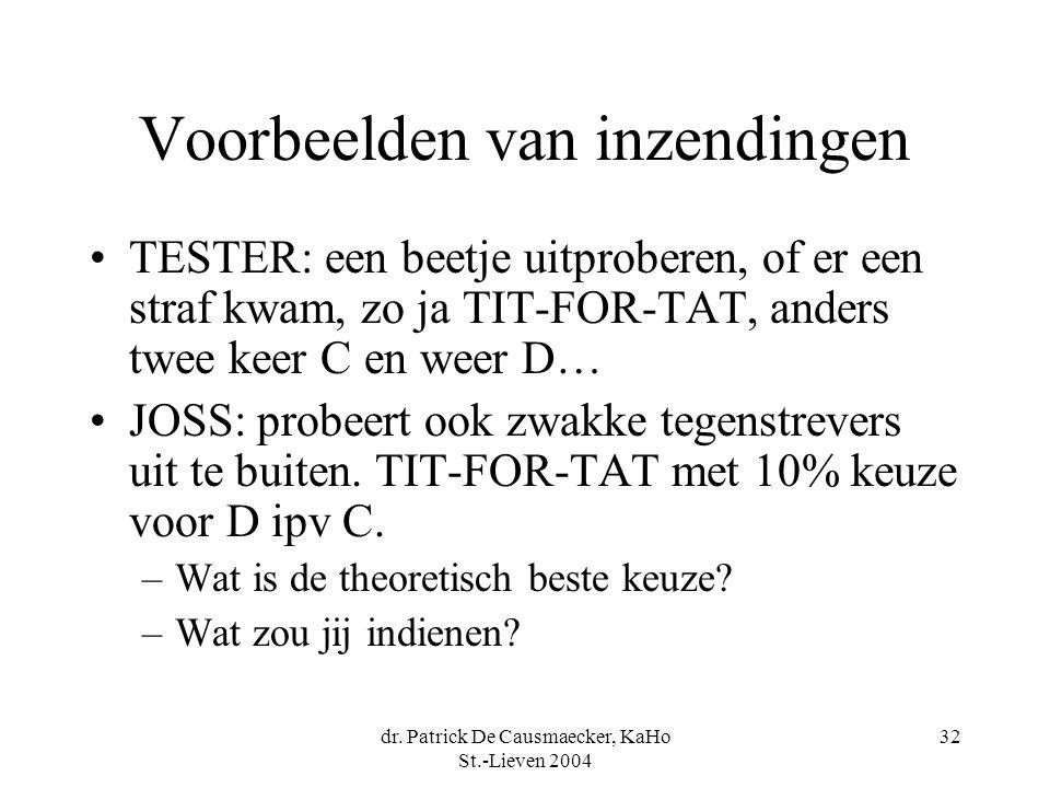 dr. Patrick De Causmaecker, KaHo St.-Lieven 2004 32 Voorbeelden van inzendingen TESTER: een beetje uitproberen, of er een straf kwam, zo ja TIT-FOR-TA