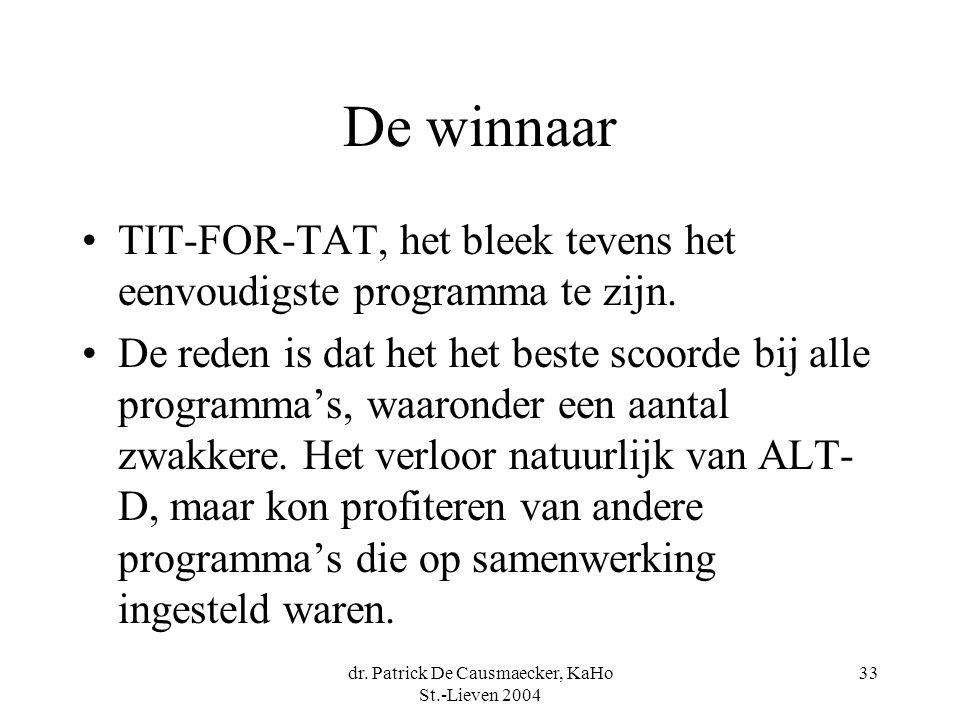 dr. Patrick De Causmaecker, KaHo St.-Lieven 2004 33 De winnaar TIT-FOR-TAT, het bleek tevens het eenvoudigste programma te zijn. De reden is dat het h