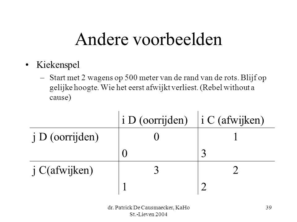 dr. Patrick De Causmaecker, KaHo St.-Lieven 2004 39 Andere voorbeelden Kiekenspel –Start met 2 wagens op 500 meter van de rand van de rots. Blijf op g