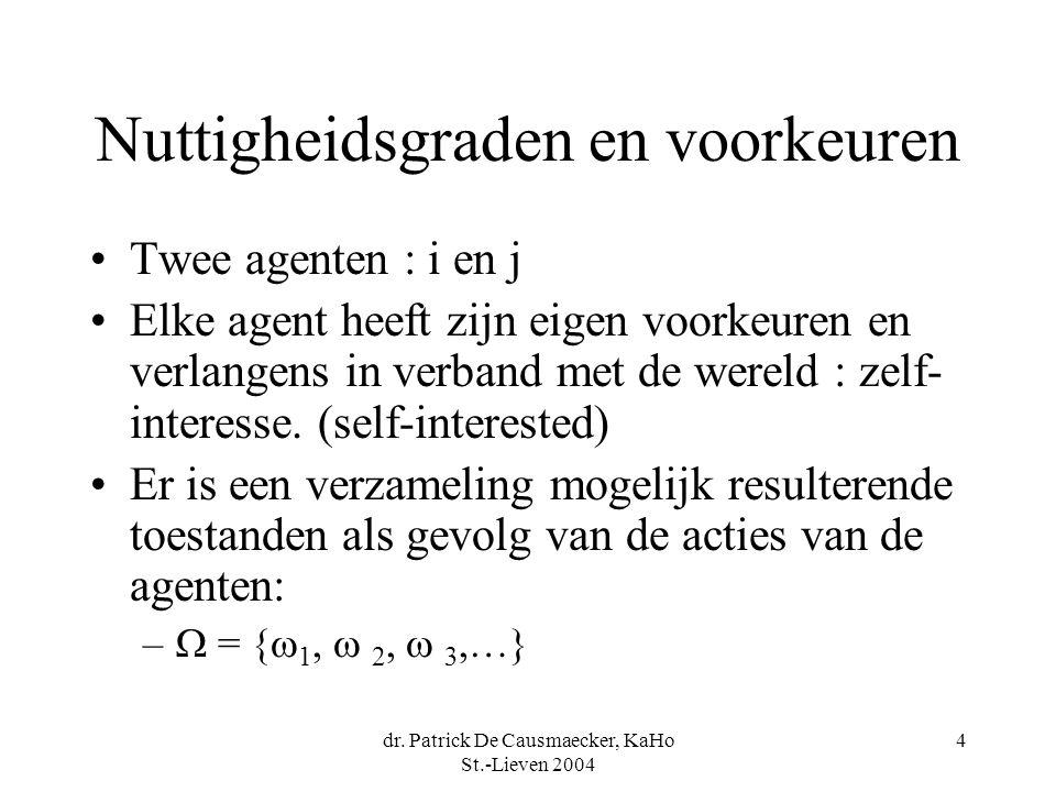 dr. Patrick De Causmaecker, KaHo St.-Lieven 2004 4 Nuttigheidsgraden en voorkeuren Twee agenten : i en j Elke agent heeft zijn eigen voorkeuren en ver