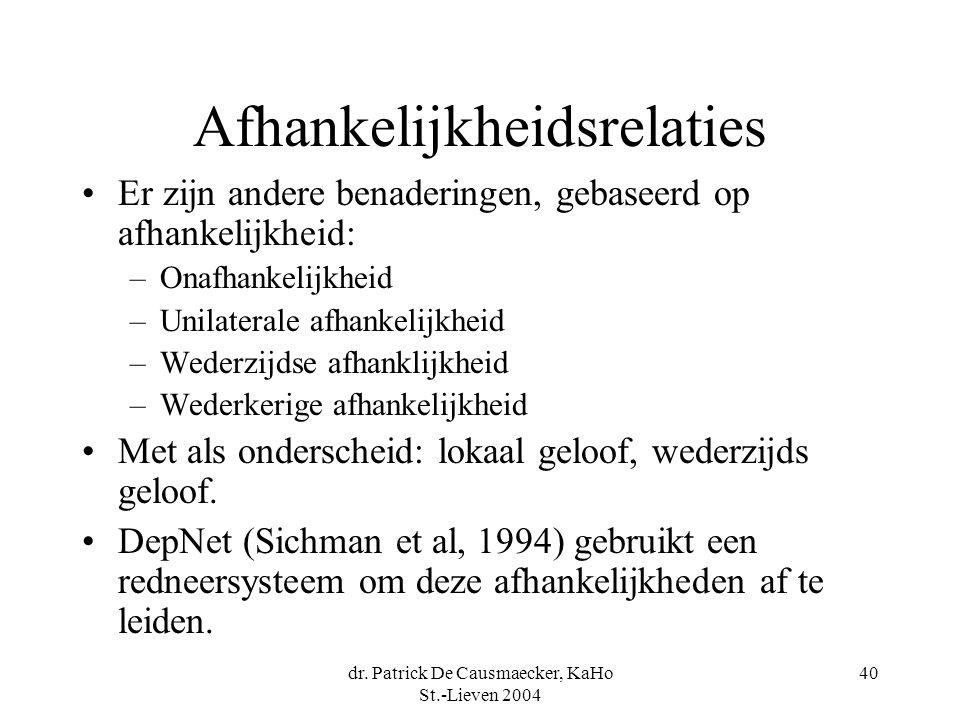 dr. Patrick De Causmaecker, KaHo St.-Lieven 2004 40 Afhankelijkheidsrelaties Er zijn andere benaderingen, gebaseerd op afhankelijkheid: –Onafhankelijk
