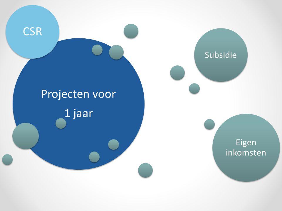 Projecten voor 1 jaar CSR Subsidie Eigen inkomsten