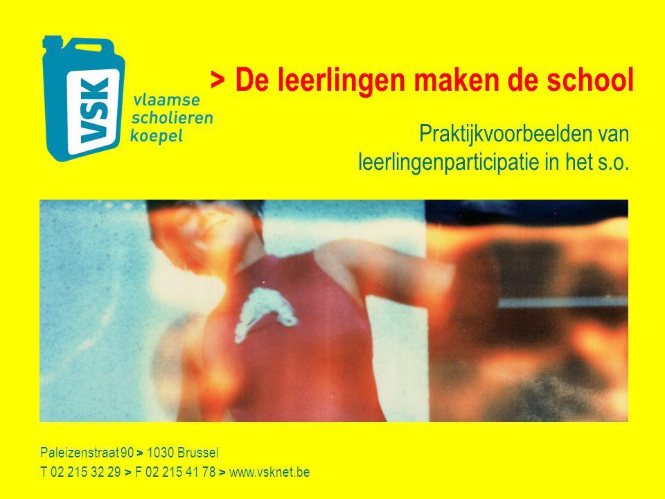 Paleizenstraat 90 > 1030 Brussel T 02 215 32 29 > F 02 215 41 78 > www.vsknet.be De leerlingen maken de school Praktijkvoorbeelden van leerlingenparticipatie in het s.o.