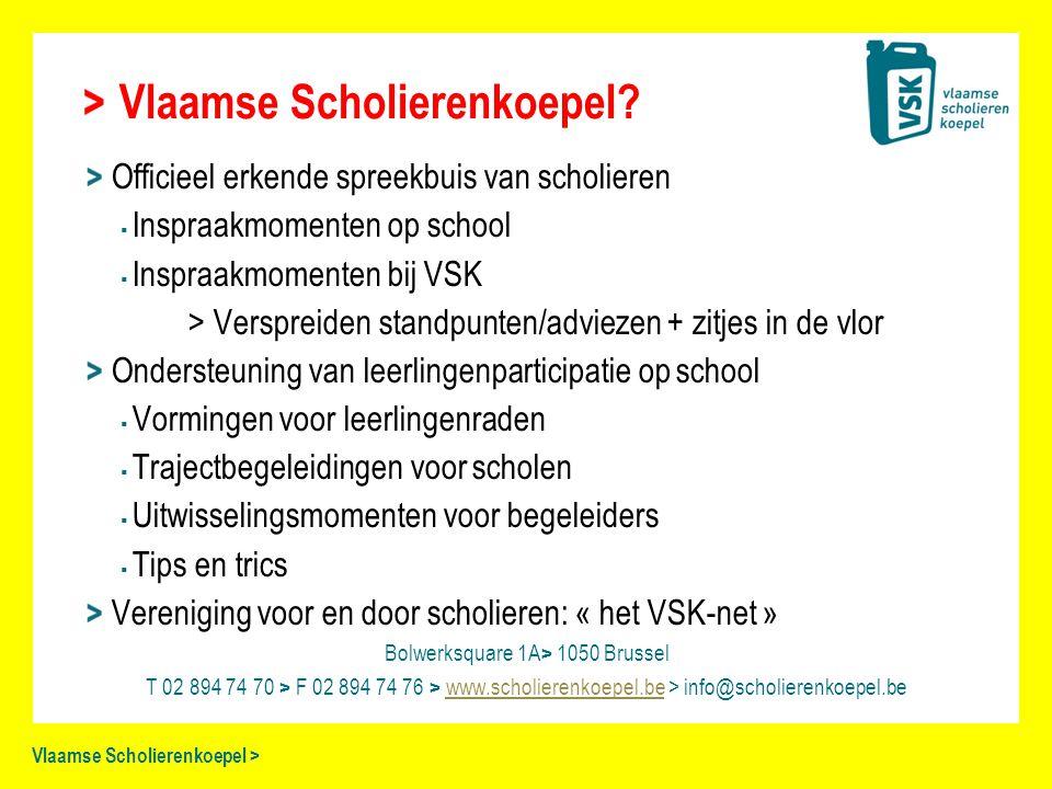 Vlaamse Scholierenkoepel > Vlaamse Scholierenkoepel? Officieel erkende spreekbuis van scholieren ▪ Inspraakmomenten op school ▪ Inspraakmomenten bij V
