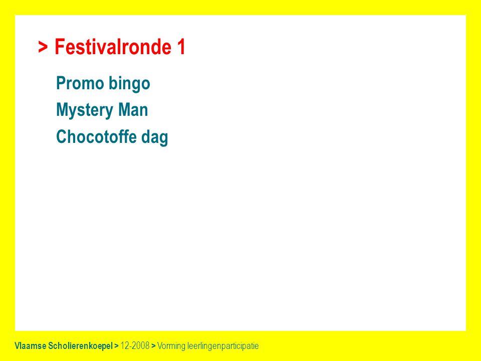 Festivalronde 1 Promo bingo Mystery Man Chocotoffe dag Vlaamse Scholierenkoepel > 12-2008 > Vorming leerlingenparticipatie