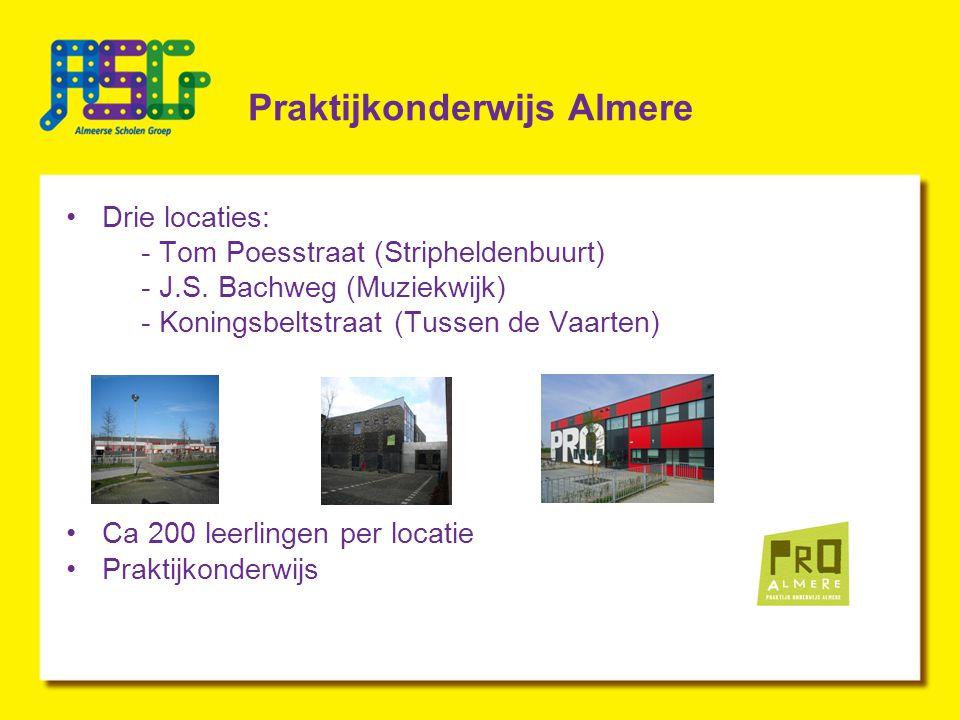 Praktijkonderwijs Almere Drie locaties: - Tom Poesstraat (Stripheldenbuurt) - J.S.