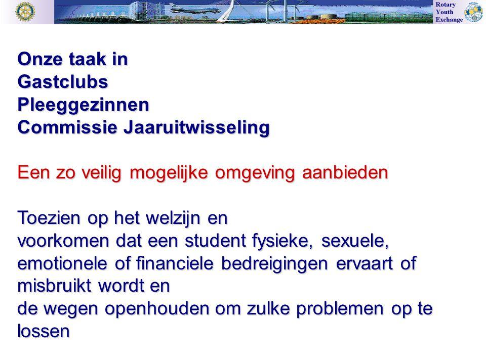 Onze taak in GastclubsPleeggezinnen Commissie Jaaruitwisseling Een zo veilig mogelijke omgeving aanbieden Toezien op het welzijn en voorkomen dat een