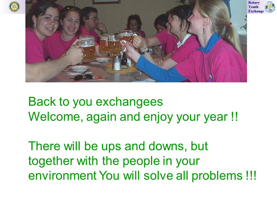 Back to you exchangees Welcome, again and enjoy your year !.