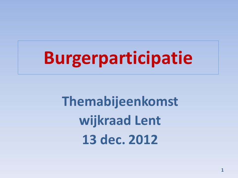 Burgerparticipatie Themabijeenkomst wijkraad Lent 13 dec. 2012 1