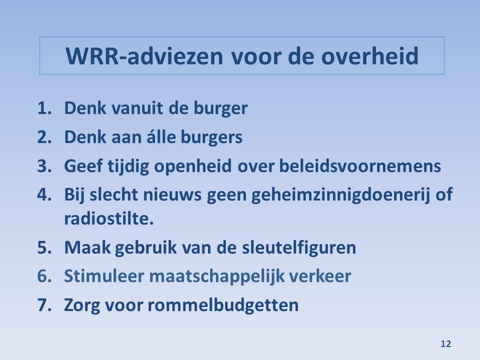 WRR-adviezen voor de overheid 1.Denk vanuit de burger 2.Denk aan álle burgers 3.Geef tijdig openheid over beleidsvoornemens 4.Bij slecht nieuws geen geheimzinnigdoenerij of radiostilte.