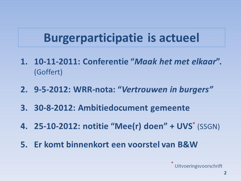 """Burgerparticipatie is actueel 1.10-11-2011: Conferentie """"Maak het met elkaar"""". (Goffert) 2.9-5-2012: WRR-nota: """"Vertrouwen in burgers"""" 3.30-8-2012: Am"""