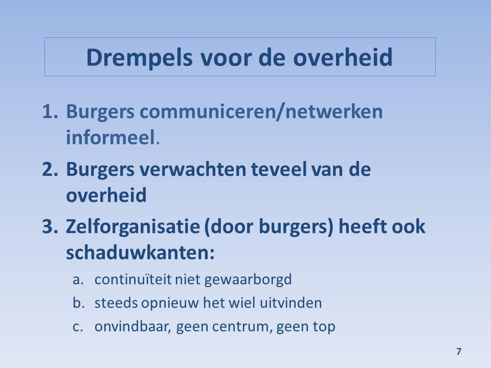 Drempels voor de overheid 1.Burgers communiceren/netwerken informeel. 2.Burgers verwachten teveel van de overheid 3.Zelforganisatie (door burgers) hee