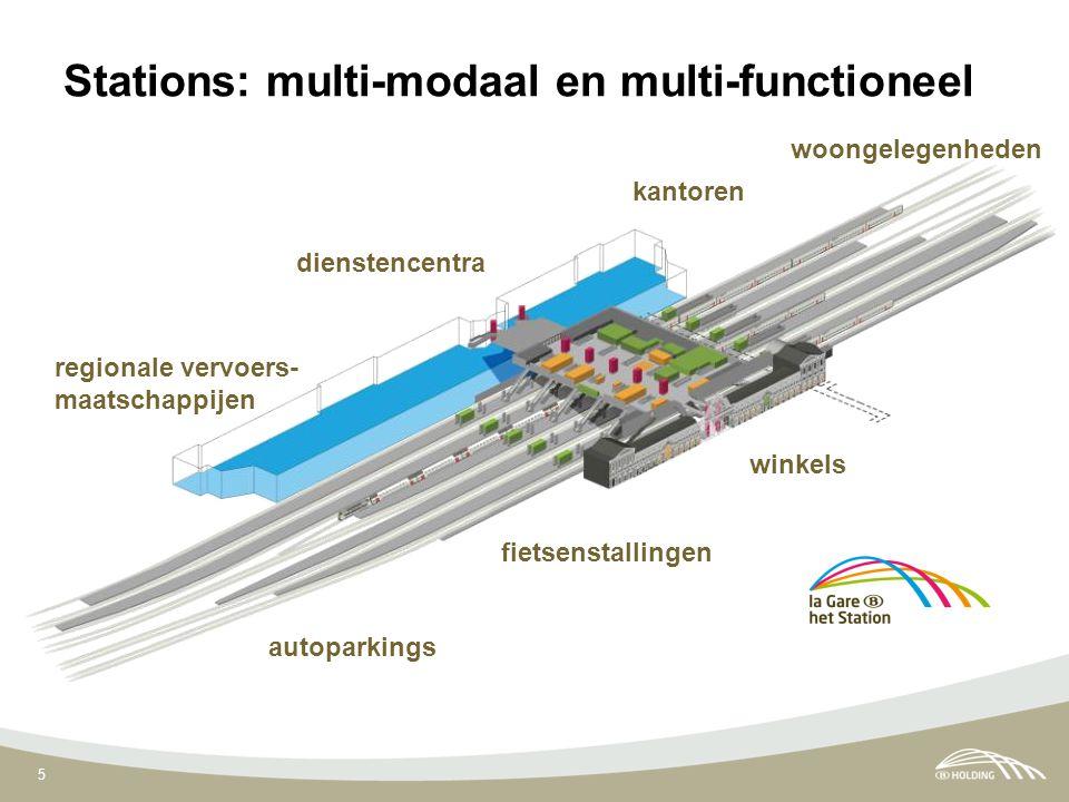 5 regionale vervoers- maatschappijen autoparkings kantoren fietsenstallingen dienstencentra woongelegenheden winkels Stations: multi-modaal en multi-functioneel