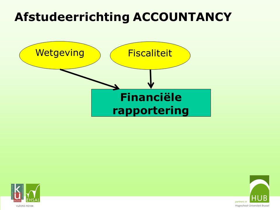 VLEKHO-HONIM Afstudeerrichting ACCOUNTANCY Financiële rapportering Wetgeving Fiscaliteit