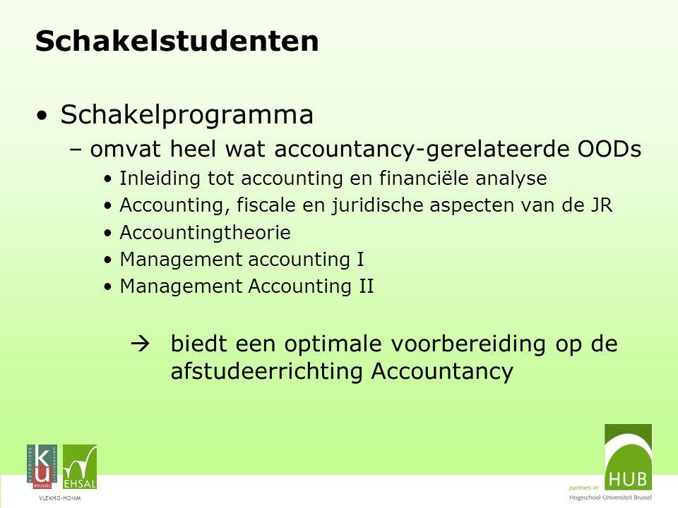 VLEKHO-HONIM Schakelstudenten Schakelprogramma –omvat heel wat accountancy-gerelateerde OODs Inleiding tot accounting en financiële analyse Accounting
