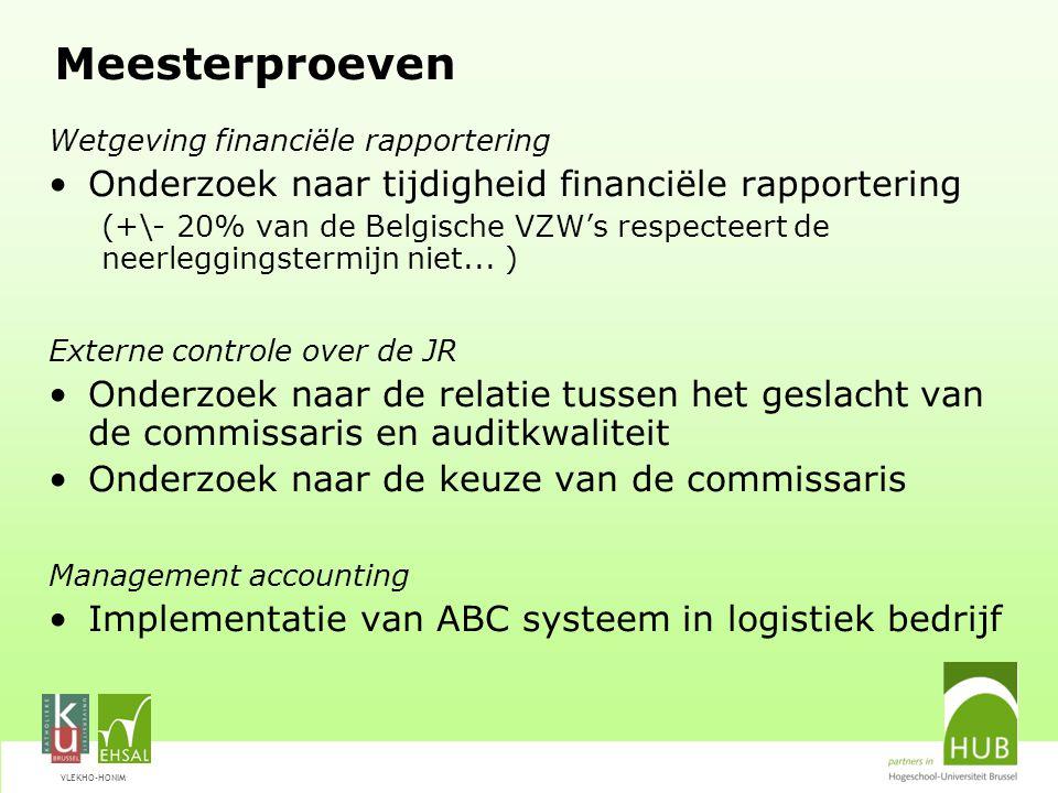 VLEKHO-HONIM Meesterproeven Wetgeving financiële rapportering Onderzoek naar tijdigheid financiële rapportering (+\- 20% van de Belgische VZW's respec