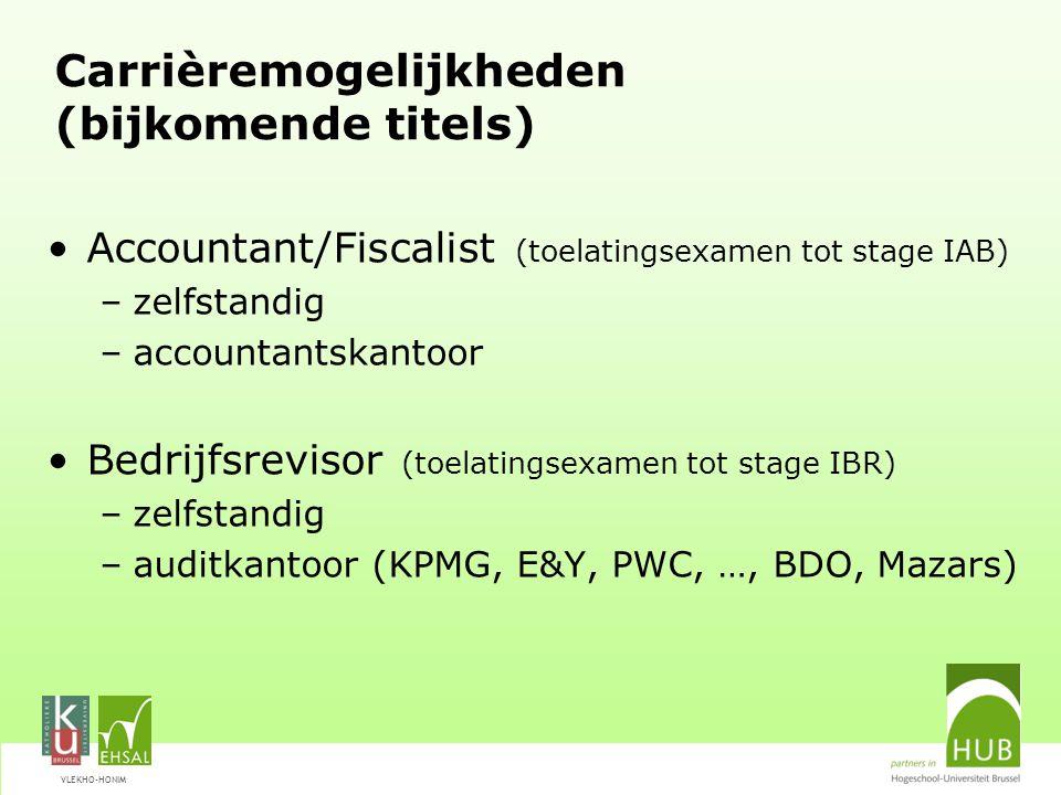 VLEKHO-HONIM Carrièremogelijkheden (bijkomende titels) Accountant/Fiscalist (toelatingsexamen tot stage IAB) –zelfstandig –accountantskantoor Bedrijfs